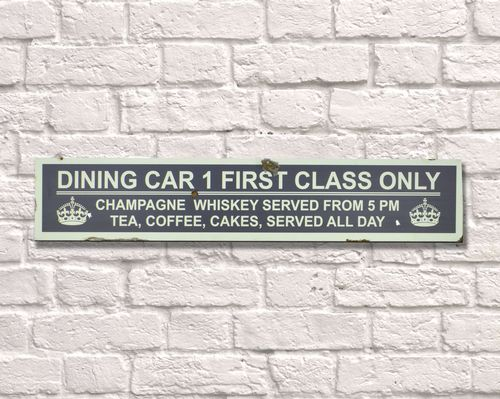 Dining Car Rusty Metal Sign 15cm x 79cm